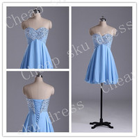 Custom Made Cheap Chiffon Ruffle A-Line Sweetheart Beads Lace-up Piping Short Bridesmaid /Party / Evening /Prom / Formal Dresses 2014