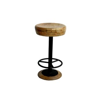 Industrial Style Adjustable Swivel Counter Height Stool With Hoop Footrest