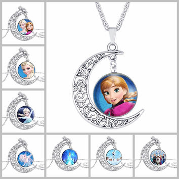 Movie jewelry silver Moon necklace vintage European style snow cartoon Elsa queen Anna princess glass pendant necklace girlsNM25