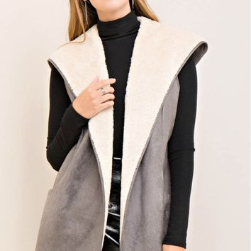 Shearling Hooded Vest with Pockets