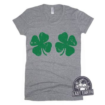 MEDIUM - SALE Lucky Shamrock Shirt Womens St Patricks Day Shirt Womens Graphic Tees St Pattys Day Shirt Funny Tshirts Lucky 4 Leaf Clover