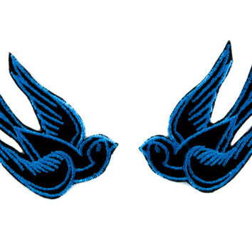 Blue Swallow Sparrows Bird Patch Iron on Applique Alternative Clothing Tattoo Rockabilly