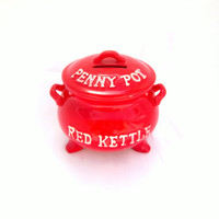 Vintage Penny Pot Kettle Red Piggy Bank