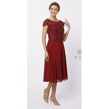 Knee-Length Formal Dress Appliqued Bodice Burgundy