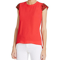 XOXO Beaded-Sleeve Top - Coral
