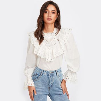 Eyelet Embroidered Ruffle Bell Cuff Blouse