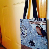 Nautical Themed Tote Bag from Sew Crafty Laboratories