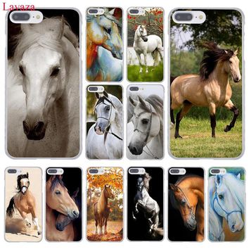 Lavaza Watercolor horse Running Horses Hard Coque Shell Phone Case for Apple iPhone 8 7 6 6S Plus X 10 5 5S SE 5C 4 4S Cover