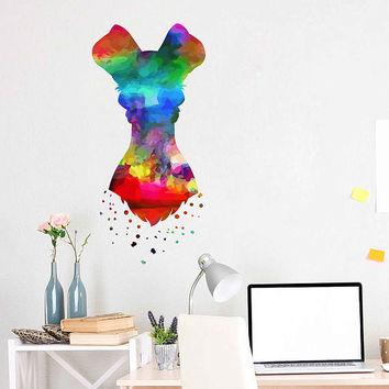 kcik2140 Full Color Wall decal Watercolor Character Disney Lady and the Tramp children's room Sticker Disney