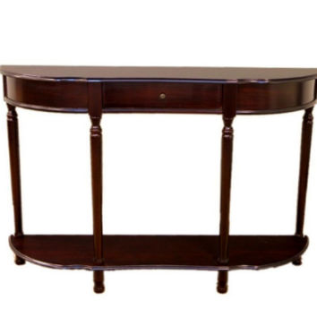 Traditional Console Sofa Table with Drawer Living Room Furniture Walnut Cherry