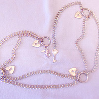 Vintage Heart Chain Belt Keyhole Romantic Fashion Accessories For Her Korea Retro Valentines Day