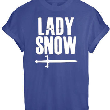 LADY JOHN SNOW STARK KHALEESI THRONES GAME INSPIRED WINTERFELL T SHIRT TOP TEE - WHITE