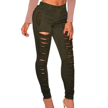 Sexy Apparel hole ripped jeans women pants Cool denim vintage straight jeans for girl High waist pants female Pencil Trousers