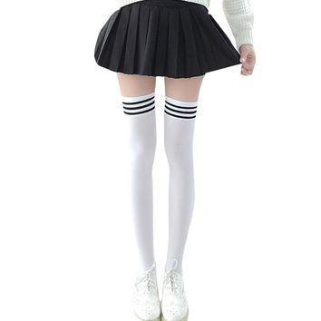 Hot Sale! Napoo 1 Pair Womens Girls Cute Striped Cotton Thigh High Over Knee High Socks