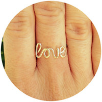 Wire Love Ring, Word Rings, Love Jewelry, Weddings, Bridesmaid Jewelry, Cursive Love Ring, Adjustable