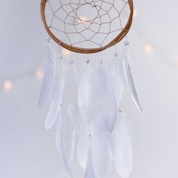 Dreamcatcher White Mini - Boho Girls Boys DreamCatcher Wall Hanging Baby Tribal Crib Baby Feathers New Baby nursery