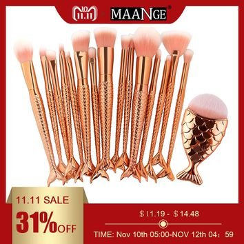 MAANGE 15/16PCS Mermaid Makeup Brushe Set Fish Tail Foundation Blush Eye shadow Make up Brush Contour Blending Cosmetic Tools