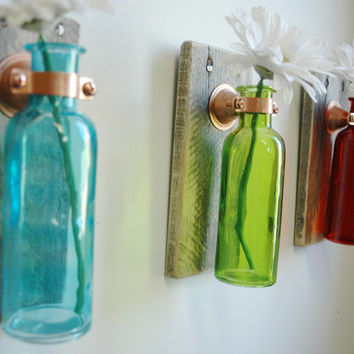 Seasons Blend Collection of  Colored Bottles each mounted on Wood Base for unique rustic wall decor bedroom decor kitchen decor