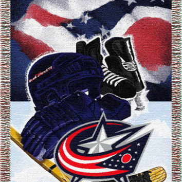 "Blue Jackets  """"Home Ice Advantage"""" 48x60 Tapestry Throw"