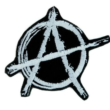 ac spbest White Anarchy Sign Patch Iron on Applique Alternative Punk Rock Clothing DIY