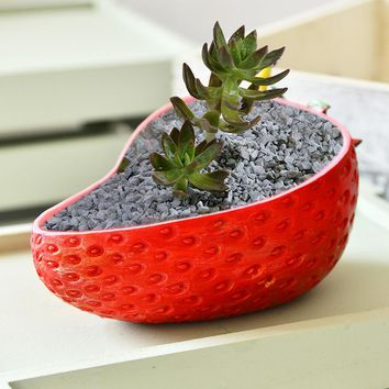 Resin Flower Pots for Succulent Plants Strawberry shape Pot Garden Decoration Flowerpot Planter