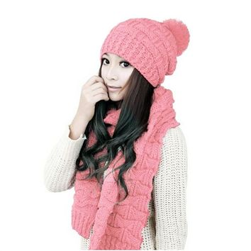 Women Girls Winter Knitted Thicken Scarf and Hat Set