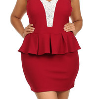 Sweetheart Neck Spaghetti Peplum Dress - RED - PLUS SIZE - 1X - 2X - 3X