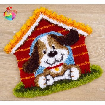 Latch hook rug kits Patchwork carpet crochet hook cross stitch cushion kits Carpet embroidery Cartoon Dog cross stitch kits