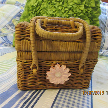 Vintage Up-Cycled Cottage Chic Natural Wicker Recipe Box with Pink Accents
