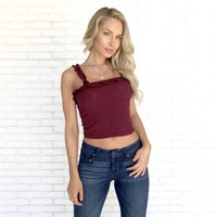Bellevue Ruffle Crop Top in Burgundy