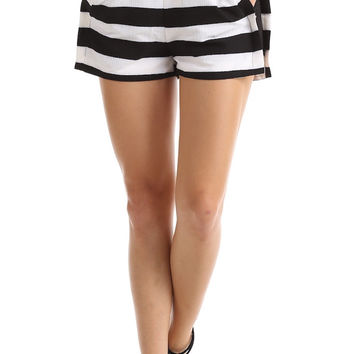 CRINKLED OPEN SIDES STRIPED SHORTS