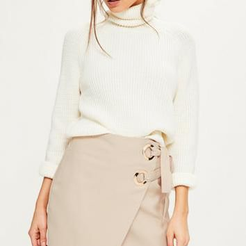 Missguided - Tall Exclusive Nude Wrap Double Ring Tie Skirt