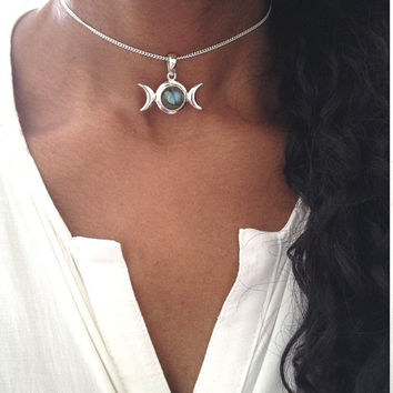 Silver Choker Necklace/ Labradorite Choker/ Triple Moon Goddess Necklace/ Boho Choker/ Sterling Silver Choker Necklace/ Gift For Her