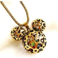 Finely Crafted Disney's Inspired Antique Gold Plated 3D Outline Mickey Mouse Pendant Long Necklace