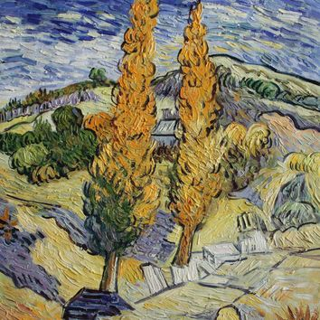 VG96-Two Poplars on a Hill-Vincent van Gogh Repro Oil Painting on Canvas 20x24""