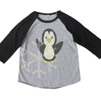 Penguin shirt toddler bird animal shirt- 3/4 sleeve tshirt -Child shirt -Raglan shirt- Baseball tshirt -Kids tshirts