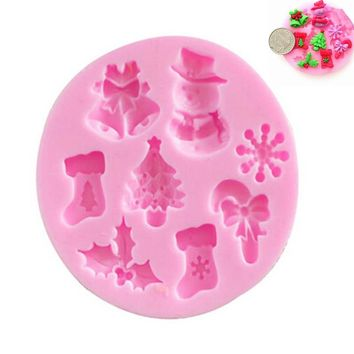 Christmas Silicone Cake Mold Mould For Fimo Resin Polymer Clay Sugarcraft Fondant DIY Tools 1PC