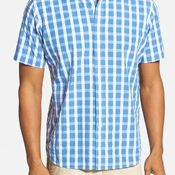 Men's Maker & Company Tailored Fit Plaid Seersucker Short Sleeve Sport Shirt