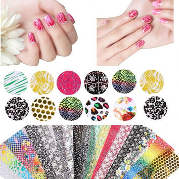 New 20 Sheets Nail Art Transfer Stickers 3D Design DIY Manicure Tips Decal Decorations