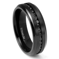 7MM Men's Eternity Black Titanium Ring Wedding Band with CZ