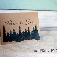 Kraft thank you cards set of 5, masculine thank you notes, woods thank you, blank thank you cards, nature thank you cards, simple thank you