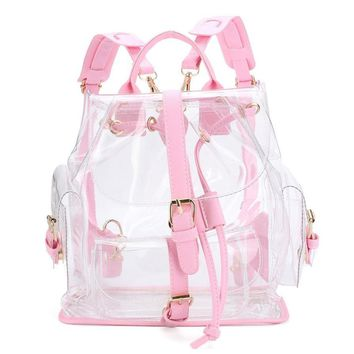 women s backpack clear plastic see through security transparent backpack bag ladies travel bag ghyw