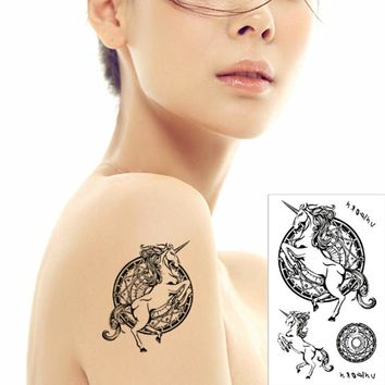 Temporary Unicorn Tattoo Body Art Henna Style Rearing Horned Horse