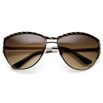 Womens Elegant Fashion Metal Frame Cat Eye Sunglasses 9327