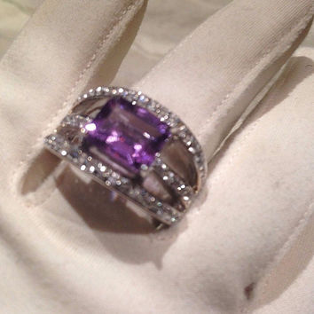 Antique Purple Genuine Amethyst BlueTopaz Vintage Stone 925 Sterling Silver Ring