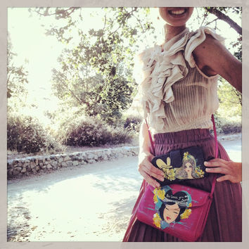 "Hand painted ""Grace Girl"" Leather Purse by La Jem"