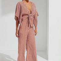 Faithfull The Brand Tilos Tie-Front Striped Jumpsuit | Urban Outfitters