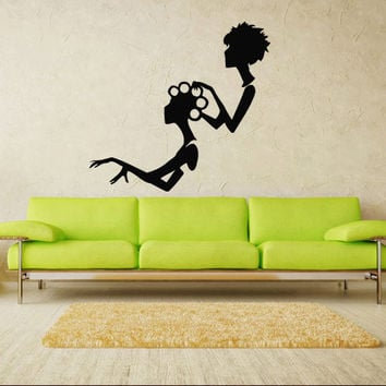 Wall decal decor decals sticker art salon beauty hair hairstyle master stylist fashion curler Glamour haircut (m355)