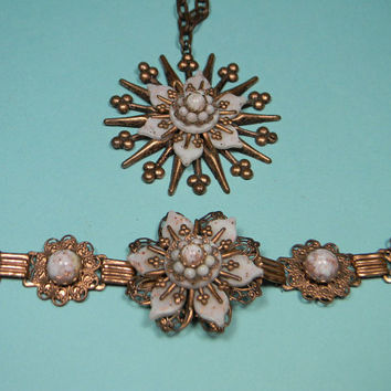Copper Jewelry Set, Floral Necklace and Bracelet, Ornate Vintage