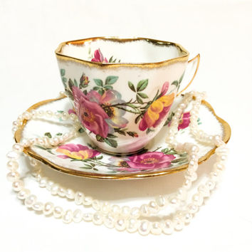Rosina Tea Cup and Saucer, Large Roses Tea Cup, Gold Daubed Rims, Feminine Decor, Shabby Chic Decor, 1950s, Vintage